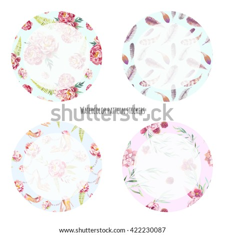 Pattern circle stickers set. Collection of round ornamental labels with feathers, flowers, plants, leaves for decor and scrapbook.  - stock photo