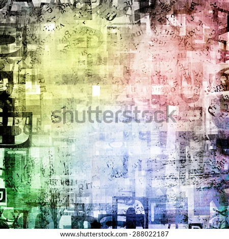Pattern colorful abstract geometric background with magazine, newspaper letters  - stock photo