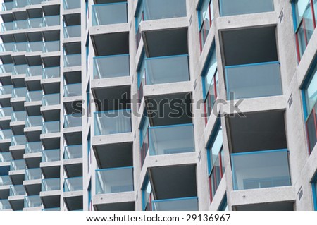 Pattern composed by balconies of the living house - stock photo