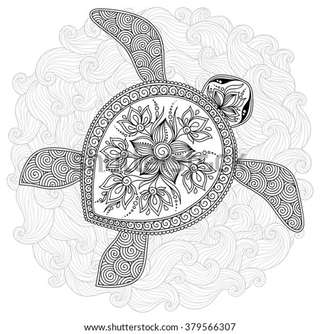 Abstract Turtle Coloring Pages