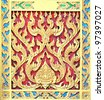 Pattern in traditional Thai style art of the temple - stock photo