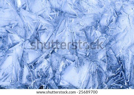 pattern made by ice crystal after melting and freezing again - stock photo