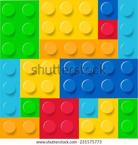 Pattern of colorful lego blocks - stock photo