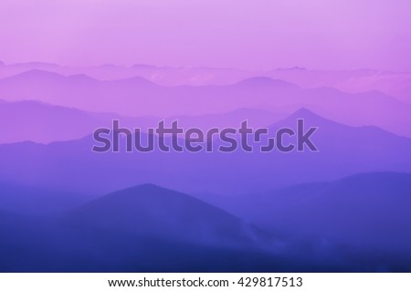 pattern of distant mountain layers  - stock photo