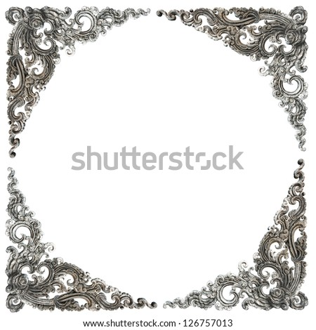 Pattern of frame carved wall sculpture on white background - stock photo