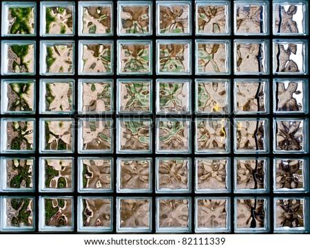 Pattern of Glass Block Wall - stock photo
