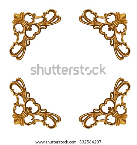 Pattern of gold metal frame isolated on white background - stock photo