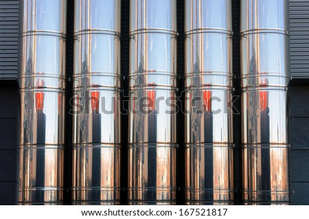 pattern of industrial metal pipes of a ventilation system  - stock photo