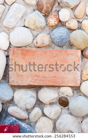 pattern of modern style design decorative real mineral stone wall surface with cement - stock photo