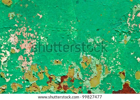 Pattern of old painted metal surface. Rusty metal, peeling paint, green tones, bright colors. - stock photo