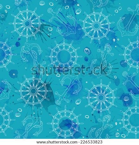 Pattern of seashells on the beach, a color line on a white background. Hand drawn seamless pattern. Abstract blue spots on a white background - stock photo