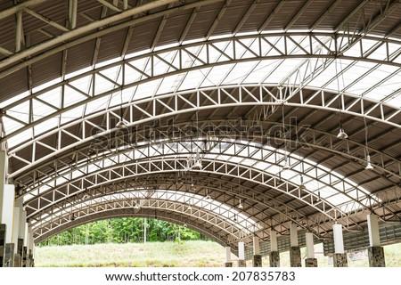 Pattern of steel roof framework, Thailand - stock photo