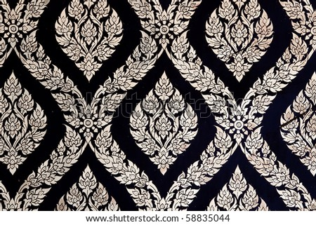 Pattern of Thai Chinese Traditional Ornament Paint on Temple door - stock photo