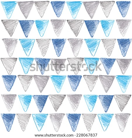 Pattern of the colored triangles. Drawing with colored pencils, crayons - stock photo