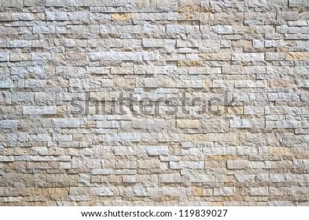 Pattern of White Modern stone Brick Wall - stock photo