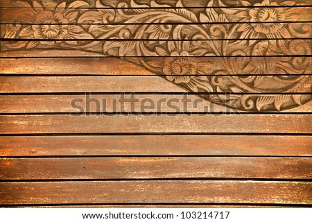 Pattern of wood frame carve flower on wood background - stock photo