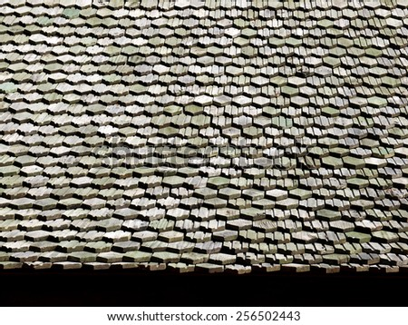 Pattern of wooden roof of old house - stock photo