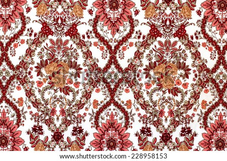 Pattern rose on the fabric for background - stock photo