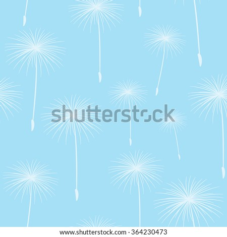 pattern seamless texture background fluffy dandelion White on light blue. - stock photo
