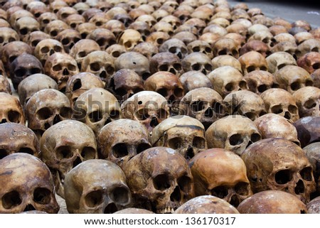 Pattern Skulls in merit ceremony at chonburi, Thailand - stock photo