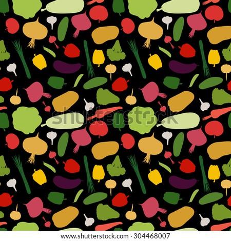 pattern vegetable background. Vegetables fresh seamless pattern.  - stock photo