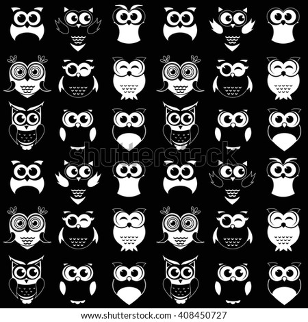 pattern with black and white owls. Raster version - stock photo
