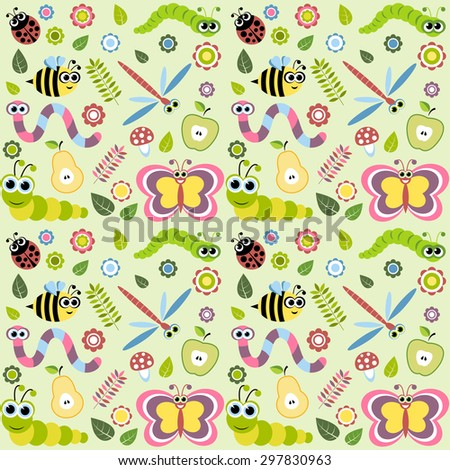 Pattern with cartoon insects. Raster version - stock photo