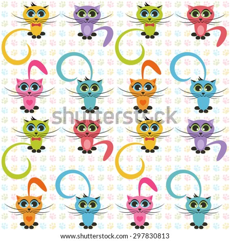 Pattern with color cats. Raster version - stock photo