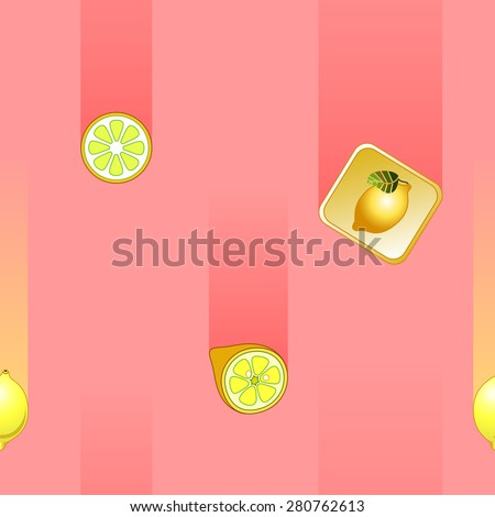 Pattern with falling lemons on a pink background. - stock photo