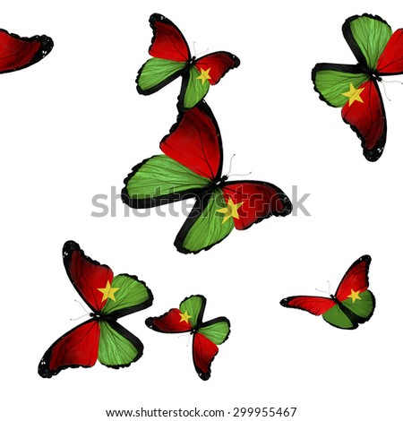 Pattern with flying Burkina Faso  butterflies - stock photo