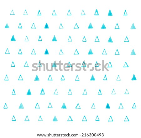 pattern with grunge watercolor aquarelle hand draw triangles - stock photo