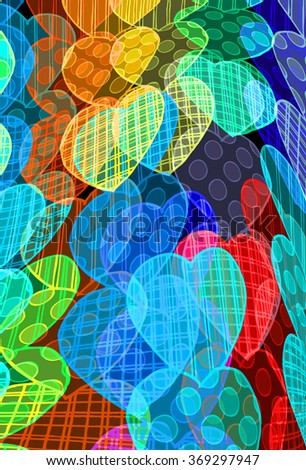 pattern with hearts - stock photo