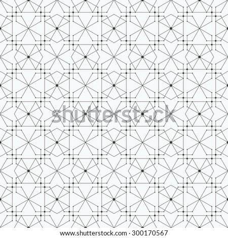 Pattern with hexagons and nodes. Repeating modern stylish geometric background. Simple abstract monochrome texture - stock photo