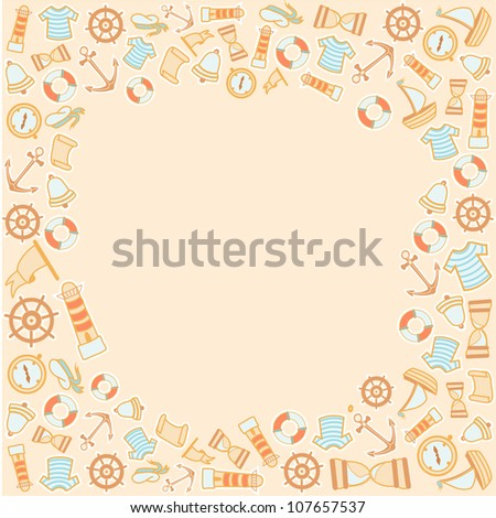 pattern with naval objects - stock photo