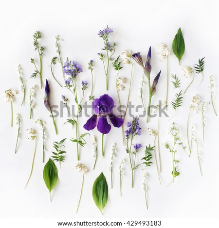 Pattern with purple iris and lily of the valley flowers on white background. Flat lay, top view - stock photo