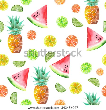 Pattern with the colored watercolor candied fruits, pineapple, lime and watermelon painted on a white background - stock photo