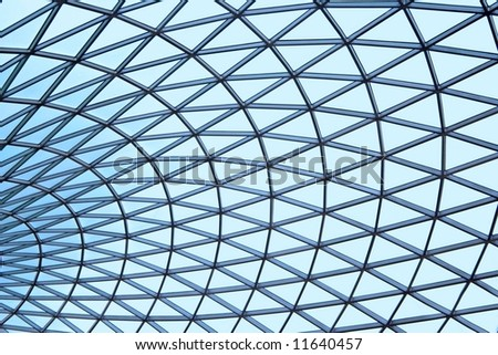 Patterned Blue Glass Ceiling - stock photo
