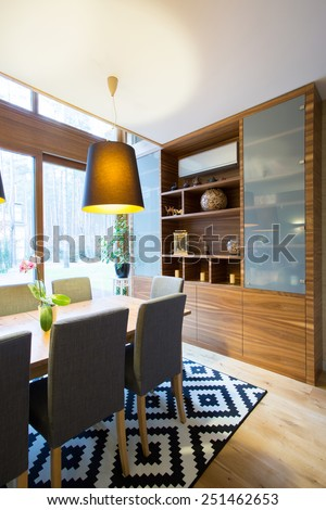 Patterned carpet in luxury living room interior - stock photo