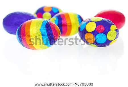 Patterned easter eggs isolated on white background. - stock photo
