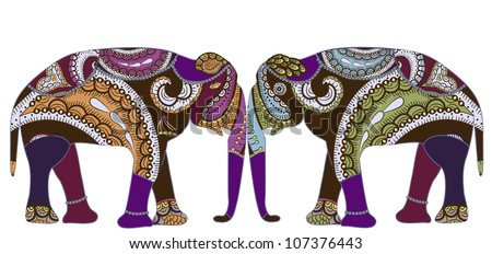 patterned elephants in ethnic style is a symbol of love and family - stock photo