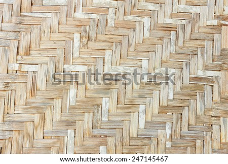 Patterns and textures of mats woven from Bamboo. - stock photo