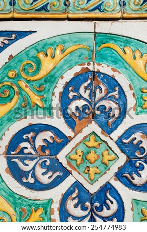 Patterns of colored ceramic tiles along the sides of Saint Francesco bridge in Caltagirone - stock photo