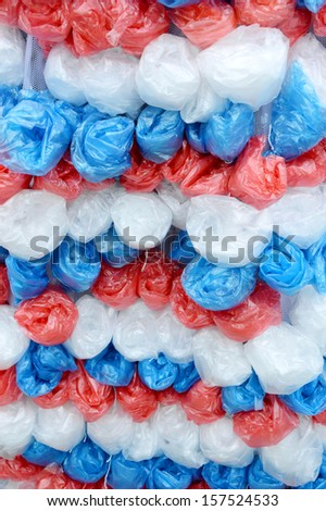 patterns of used plastic bags background - stock photo