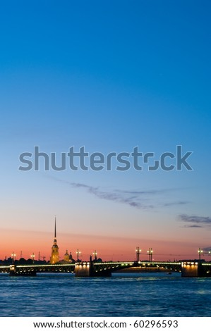 Paul and Peter fortress in Saint Petersburg, Russia in white nights from Neva river. Nightscene - stock photo