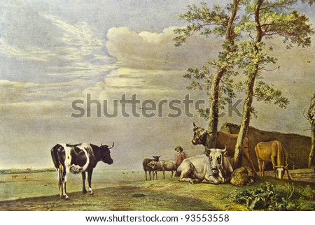 """Paulus Potter """"Grazing cows"""". Reproduction from illustrated Encyclopedia «Art galleries of Europe», Partnership «M. O. Wolf», St. Petersburg - Moscow, Russia , 1901 - stock photo"""