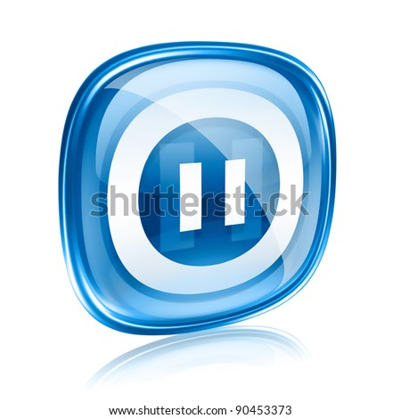 Pause icon blue glass, isolated on white background. - stock photo