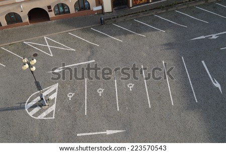 Paved parking - stock photo