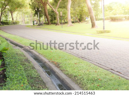 Paved Path in a Beautiful Formal Garden - stock photo