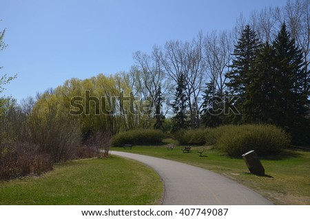 Paved Pathway in Confederation Park, Calgary - stock photo