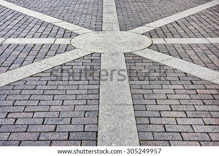 pavement of concrete pavement tiles patterned - stock photo